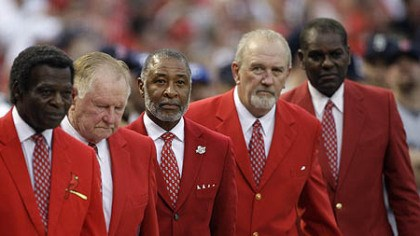 Lou Brock, Red Schoendeinst, Ozzie Smith, Bruce Sutter and Bob Gibson From left former Cardinals greats Lou Brock, Red Schoendeinst, Ozzie Smith, Bruce Sutter and Bob Gibson are introduced before the first inning.