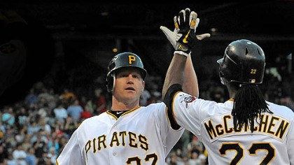 Lyle Overbay and Andrew McCutchen The Pirates' Lyle Overbay is greeted at home by Andrew McCutchen after hitting a three-run home run against the Red Sox at PNC Park Saturday.