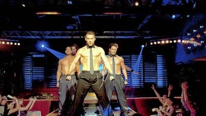 "'Magic Mike' Adam Rodriguez, left, Kevin Nash, Channing Tatum and Matt Bomer tell a revealing tale in ""Magic Mike."""