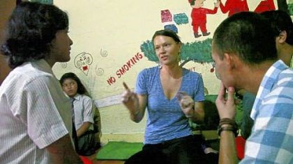 Making a movie in Nepal Erin Galey directing some actors in a workshop at a school in Kathmandu in June.