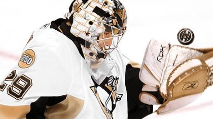 Marc-Andre Fleury Penguins goalie Marc-Andre Fleury makes a save against the Flyers' Mike Richards.