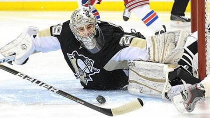 Marc-Andre Fleury Penguins goalie Marc-Andre Fleury makes a save on Rangers' Marian Gaborik in the second period.