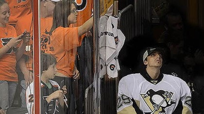 Marc-Andre Fleury Penguins goalie Marc-Andre Fleury watches after being replaced by backup Brent Johnson in the third period Sunday against the Flyers at Wells Fargo Center in Philadelphia.