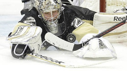 Marc-Andre Fleury Goalie Marc-Andre Fleury makes a save in the second period of Game 2 last night at Consol Energy Center. Fleury was under siege again as the Penguins lost, 8-5.