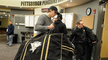 Marc-Andre Fleury Penguins goalie Marc-Andre Fleury packs up his equipment in the Penguins locker room on Tuesday afternoon.