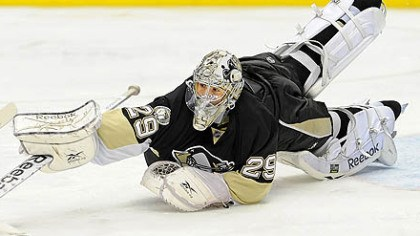 Marc-Andre Fleury Penguins goaltender Marc-Andre Fleury has a 0-3-0 record this season.