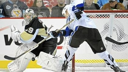 Marc-Andre Fleury Marc-Andre Fleury makes a save against the Lightning's Adam Hall in the third period Friday.