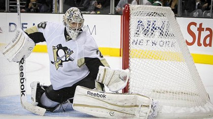 Marc-Andre Fleury Penguins goalie Marc-Andre Fleury makes a save during the second period.