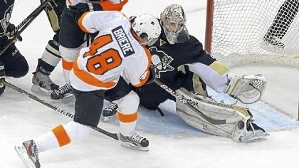 Marc-Andre Fleury makes save Marc-Andre Fleury makes a save on Danny Briere in Game 5 Friday. Fleury made 24 saves on 26 shots in the win.