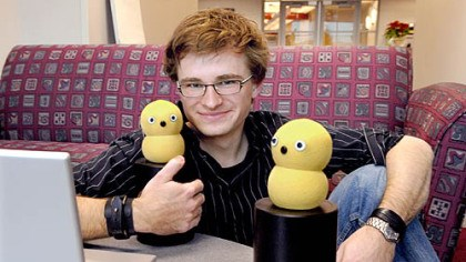 Marek Michalowski and his robots Marek Michalowski, 27, with two of his Keepon robots.