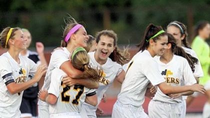 Maria Carr North Allegheny teammates swarm Maria Carr after she scored a goal against Pine-Richland earlier this season.