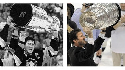 Mario and the Cup: 18 years apart Mario Lemieux hoists the cup after the Penguins Stanley Cup victory over the Minnesota North Stars in 1991 and again after beating the Detroit Red Wings in 2009.