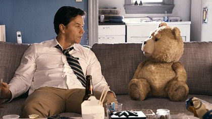 "Mark Wahlberg hangs out with Ted Mark Wahlberg hangs out with Ted (voice of Seth MacFarlane) in ""Ted."""