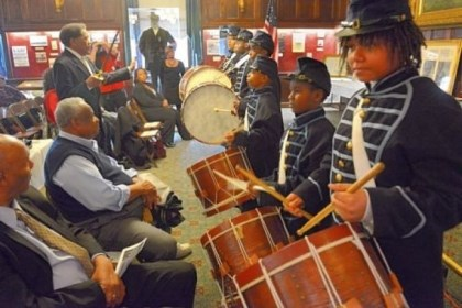 Marshall Anderson Marshall Anderson, 13, right, and other members of Soldiers & Sailors 6th Regiment USCT Drum Corps, perform during the third annual African American Heritage Celebration at Soldiers & Sailors Memorial Hall & Museum in Oakland on Saturday.