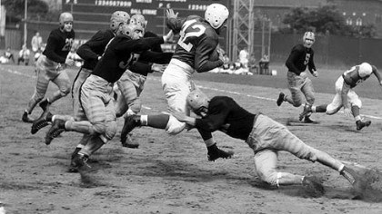 Marshall Goldberg Marshall Goldberg, the former Pitt All-America who played for the Chicago Cardinals in the NFL, runs through Steelers tacklers at Forbes Field in 1940.