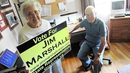Marshalls State House candidate Jim Marshall's parents, Bob and Peg Marshall, pose for a portrait inside the room at their home which served as their son's campaign headquarters.