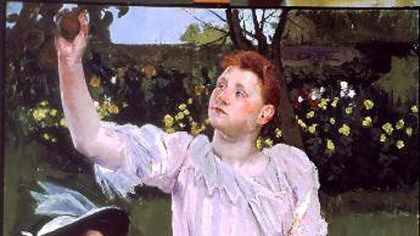 "Mary Cassatt's ""Young Women Picking Fruit"" Mary Cassatt's ""Young Women Picking Fruit,"" in the collection of the Carnegie Museum of Art, is among the images visitors taking the ""In the Moment"" tours may see. The painting revived memories for one patient on a recent visit."