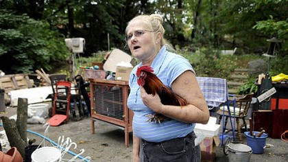 Mary Lu Frankovic Mary Lu Frankovic, 56, with her rooster, Hank, watches as humane officers remove rabbits from her home on Ridgeside Road in Ross yesterday.