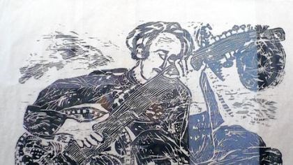 "Matsubara print ""Ravi Shankar"" is exhibited in ""Matsubara: Illuminations"" at the Chatham University Gallery."