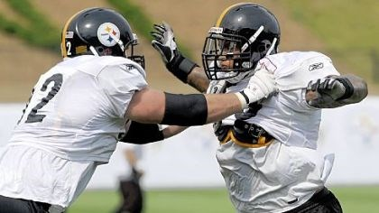 Maurice Pouncey Steelers first-round pick Maurice Pouncey, right, goes through drills with teammate Justin Hartwig during the first day of the team's 2010 training camp in Latrobe last month.
