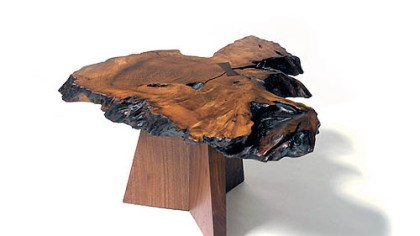 Maya coffee table Maya coffee table was made by Mira Nakashima-Yarnall out of redwood burl and walnut.