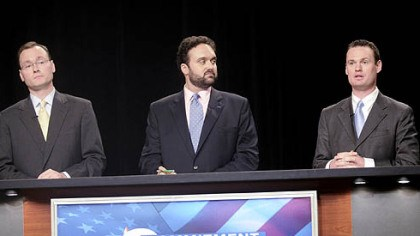 Mayoral candidates Mayoral candidates, from left, Kevin Acklin, Franco Dok Harris and Luke Ravenstahl debate in the WTAE studio yesterday.