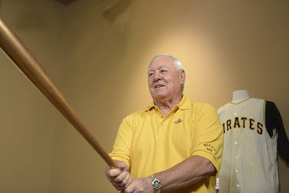 maz1 During a news conference Wednesday at PNC Park, former Pirates second baseman Bill Mazeroski holds the bat that he used to hit his famous 1960 World Series-winning home run.