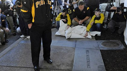 Mazeroski Bill Mazeroski looks at the plaque and historical information which was placed near the Forbes Field wall in Oakland on Wednesday.