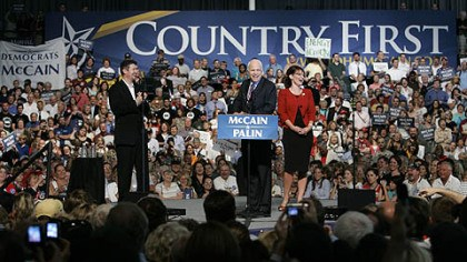 McCain-Palin ticket in Lancaster Republican presidential candidate Sen., John McCain, R-Ariz., center, and his vice presidential running mate, Alaska Gov. Sarah Palin, right, with her husband Todd Palin, left, address supporters during a campaign rally at Franklin & Marshall College in Lancaster yesterday.