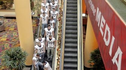 Media Day Penn State football players depart a Rose Bowl media day event yesterday in downtown Los Angeles.