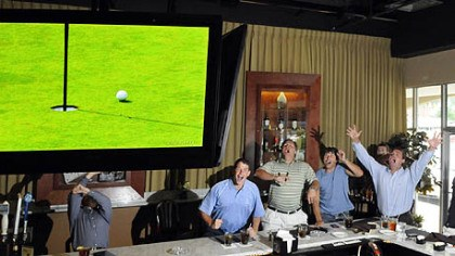 Mediate's friends watch the playoff Friends of golfer Rocco Mediate cheer his near-hole-in-one on the par 3 third hole in U.S. Open playoff with Tiger Woods at the Torey Pines in San Diego. They were watching on TV from Bruschetta's Restaurant in Murrysville.