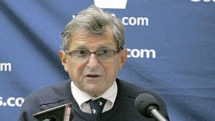 Meet the press Paterno talks to reporters Saturday after the Purdue game.