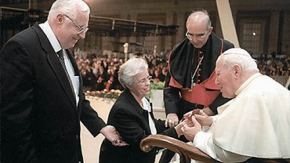 Meeting Pope John Paul II Jerry and Gwen Coniker greeting Pope John Paul II at Jubilee of Families.