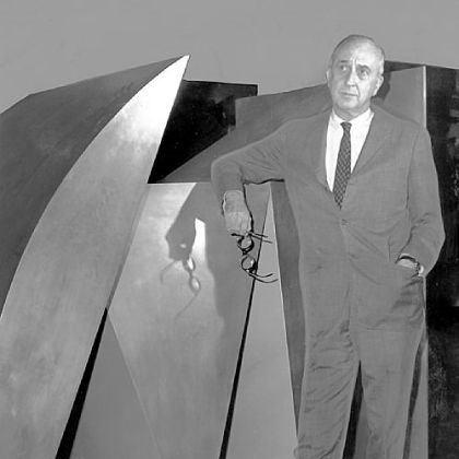 "Memoirs of Leon Arkus In September 1969, Carnegie Musuem director Leon Arkus ponders details of coming exhibition beside the Duayne Hatchett sculpture ""Blue Parallel,"" purchased from the 1967 International."