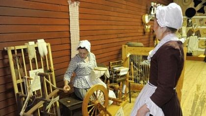 Mercantile Center Sarah Carroll of Hampton, left, and Karen Parsons of Richland staff the Mercantile Center and demonstrate what parts of daily life would have consisted of in the18th century.