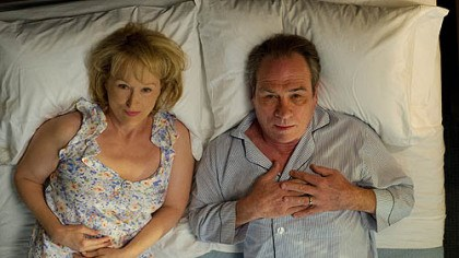 "Meryl Streep and Tommy Lee Jones Meryl Streep plays a woman who tries to rekindle her marriage by taking her husband, portrayed by Tommy Lee Jones, to an intensive counseling session in ""Hope Springs."""