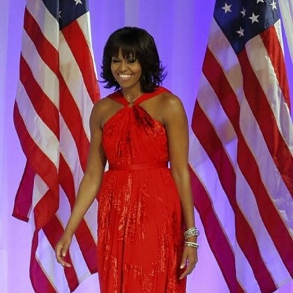 Michelle Obama's gown Michelle Obama's gown for the Commander-in-Chief's Ball was a chiffon-and-velvet halter dress by Jason Wu.