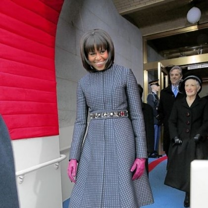 Michelle Obama's inauguration attire First lady Michelle Obama wears a Thom Browne navy coat and dress ensemble to the president's inauguration Monday.