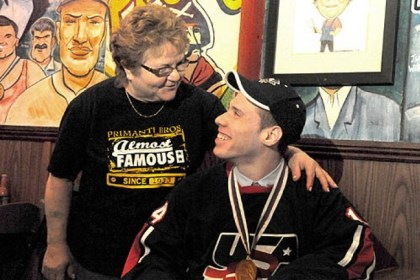 might penguins mccoy primanti Toni Haggerty, general manager at the original Primanti Bros. in the Strip District, embraces Mighty Penguins player Dan McCoy after a ceremony today unveiling new mural additions. Mr. McCoy is a member of the Mighty Penguins hockey program for disabled athletes.