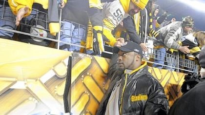 Mike Tomlin Steelers head coach Mike Tomlin shakes hands with fans as he leaves the field after the Steelers win over San Diego in the first playoff game.