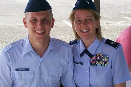 Military Assaults Lt. Col. Michele Papakie with her son, Senior Airman Derek Papakie. Lt. Col. Michele Papakie spent six months in Afghanistan in 2010 working as a sexual assault prevention and resource (SAPR) officer for the Army.
