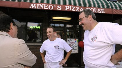 Mineo's Pizza House Mineo's Pizza House owners Jon, center, and Dominic Mineo, talk with city council president Doug Shields, left, during the 50th Anniversary event at the Squirrel Hill insitutution.