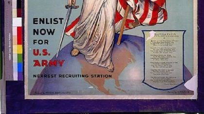 Miss Columbia 2 During World War I, Miss Columbia appeared in a 1916 military recruiting poster.