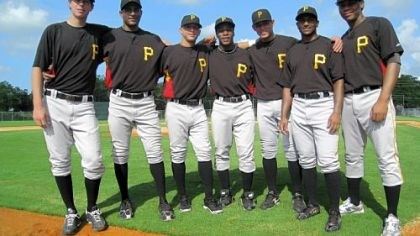 Mitch Fienemann, Rinku Singh, Benji Gonzalez, Gift Ngoepe, Elevys Gonzalez, Dinesh Patel and Gerlis Rodriguez Seven Pirates prospects representing five continents, left to right: Pitcher Mitch Fienemann of Australia, pitcher Rinku Singh of India, shortstop Benji Gonzalez of Puerto Rico, second baseman Gift Ngoepe of South Africa, infielder Elevys Gonzalez of Venezuela, pitcher Dinesh Patel of India and first baseman Gerlis Rodriguez of the Dominican Republic.