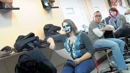 Mixing classes Anastasia Howarth, 18, of Monaca, listens to her instructor in anatomy class Thursday after taking a special makeup class at Tom Savini's Special Make-up Effects Program, part of the Douglas Education Center in Monessen.