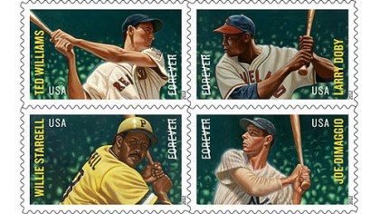 MLB All-Stars postage stamps The United States Postal Service's Major League Baseball All-Star Forever stamps (clockwise from top left): Ted Williams, Larry Doby, Joe DiMaggio and Pirates Hall of Famer Willie Stargell.