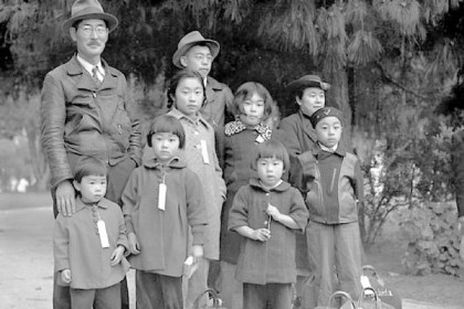 Mochida family A May 1942 photo by Dorothea Lange shows members of the Mochida family awaiting a bus to take them to an internment camp. Identification tags were used to aid in keeping a family intact. The Mochidas operated a nursery and five greenhouses on a 2-acre site in Hayward, Calif. They were among 110,000 people of Japanese descent placed in internment camps.