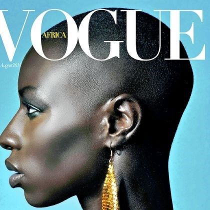 Mock cover for Vogue Mr. Epanya designed mock covers in proposing an African edition of Vogue. Conde Nast, Vogue's publisher, did not pursue the proposal.