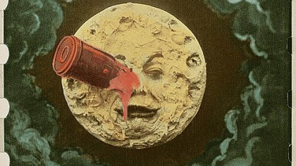 "mon The rocket to the eye of the man in the moon is the iconic image from Georges Melies' 1902 film ""A Trip to the Moon."""