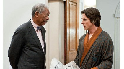 "Morgan Freeman and Christian Bale Morgan Freeman and Christian Bale in ""The Dark Knight Rises."""
